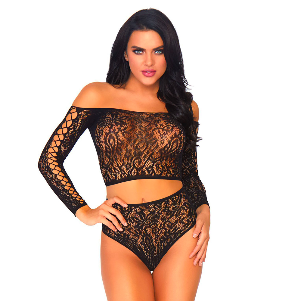 Leg Avenue 2 Piece Lace Top And Thong One Size 8 to 14