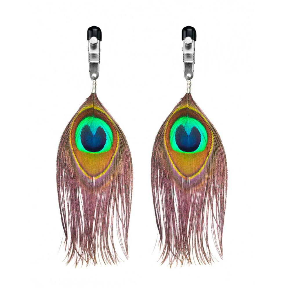 Nipple Clamps With Peacock Feather Trim